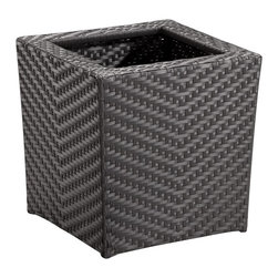 "Lamps Plus - Contemporary Cancun 18"" High Outdoor Short Planter - Elevate your outdoor living area with the highly fashionable Cancun collection of outdoor furnishings. This short planter features a UV treated synthetic weave and a reinforced interior aluminum tube frame. UV treated synthetic weave. Aluminum tube frame. 18"" high. 16"" square at base. 17 1/2"" square at top.  UV treated synthetic weave.   Aluminum tube frame.   18"" high.   16"" square at base.   17 1/2"" square at top."
