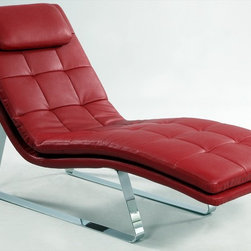 "Chintaly Imports - Corvette Chaise Lounge, Red - Sensational chaise lounge in full bonded leather with chromed steel legs. This will be the go to chair when you look for comfort to relax.; Chaise lounge; Red full bonded leather; Chrome steel leather; Dimensions:27.95""W x 66.93""D x 35.83""H"