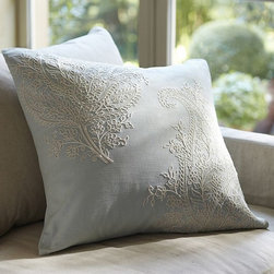 Rossi Paisley Embroidered Pillow Cover - The soft, subtle colors and beautiful embroidery on these throw pillows will get any room ready for spring.