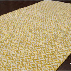 Handmade Alexa Flat-Weave Cotton Rug, Yellow - Flat-weave rugs can be ideal in a kids' room. While they're not as soft and plushy as wool, they come in a variety of shapes, sizes and patterns at great prices. Plus, they are easy to replace if juice or accidents cause big spills. This yellow beehive pattern is one of my favorites.