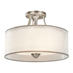 Kichler - Kichler Lacey Semi-Flush Mount Ceiling Fixture in Antique Pewter - Shown in picture: Kichler Semi Flush 3Lt in Antique Pewter