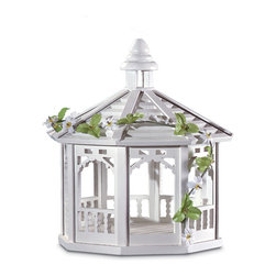 KOOLEKOO - White Gazebo Bird Feeder - Gazebo birdfeeder is tastefully trimmed with gingerbread mouldings and greenery. A lovely spot for birds to dine!