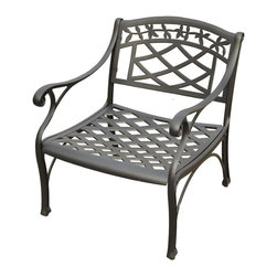 Crosley Furniture - Club Chair in Charcoal Black - Contoured seat for comfort. Maintenance free. Non-toxic sealed powder coated finish. UV resistant. Transitional style. Warranty: 90 days. Made from solid cast aluminum. Assembly required. 26 in. W x 29.5 in. D x 31 in. H (31.8 lbs.)It may be hot outside, but youll feel cool kicking back in our heavy duty, solid-cast aluminum furniture. Designed for style and built to last, this club chair features a durable charcoal black powder coated finish that will weather the harshest of outdoor conditions. Experience pure nirvana while unwinding in the chairs comfortable contoured seats. Your very own outdoor oasis awaits you!