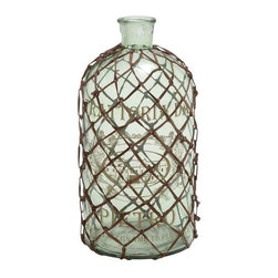 Benzara - Contemporary Art of Decorative and Netted Glass Bottle Vase - Contemporary Art of Decorative and Netted Glass Bottle Vase. Flower pots are messy and not always suitable for placing flowers in your interiors. The dimensions of the decorative and netted glass bottle vase are 9x9x18.
