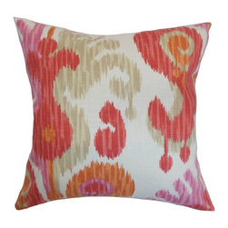 "The Pillow Collection - Xinguara Ikat Pillow Fruity 18"" x 18"" - Spruce up your interiors with some fun elements and bring in a cheery atmosphere. This ikat throw pillow is the perfect home accessory for your styling needs. Printed with ikat patterns, this accent pillow is a combination of contemporary and traditional style. Play with your interiors by pairing this square pillow with solids and bold patterns. Shades of pink, neutral, orange and red are featured in this pillow. This decor pillow is American-made with high-quality 100% soft cotton fabric. Hidden zipper closure for easy cover removal.  Knife edge finish on all four sides.  Reversible pillow with the same fabric on the back side.  Spot cleaning suggested."