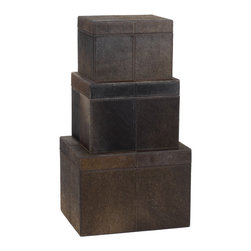 Lazy Susan - Nested Chestnut Faux Pony Boxes, Set Of 3 - -Small Box Contains Jewelry Tray