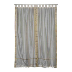 Indian Selections - Pair of Cream Tab Top Sheer Sari Curtains, 60 X 84 In. - Size of each curtain: 60 Inches wide X 84 Inches drop. Sizing Note: The curtain has a seam in the middle to allow for the wider length