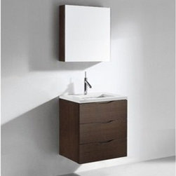 """Madeli - Madeli Bolano 24"""" Bathroom Vanity with Quartzstone Top - Walnut - Madeli brings together a team with 25 years of combined experience, the newest production technologies, and reliable availability of it's products. Featuring sleek sophisticated lines Madeli vanities are also created with contemporary finishes and materials. Some vanities also feature Blum soft-close hardware. Madeli also includes a Limited 1 Year Warranty on Glass Vessels, Basin, and Counter Tops. Features Wall Mounted Three Drawer Vanity Walnut finish 1-1/4""""H Quartzstone Countertops come in White or Soft Grey finish Quartzstone Countertops come with single faucet or 8"""" widespread faucet holesCeramic undermount sink with overflow Faucet and drain are not includedNo backsplash Matching mirror and medicine cabinet available Limited 1 Year Warranty on Glass Vessels, Basin, and Counter Tops How to handle your counter Spec Sheet Installation Instructions"""