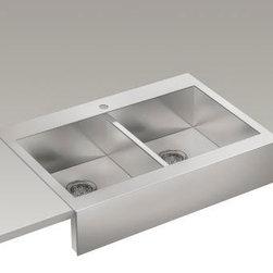 """KOHLER - KOHLER K-3944-1-NA Vault Top-Mount Single Bas Sink with Shortened Apron-Front - KOHLER K-3944-1-NA Vault top-mount double basin stainless steel sink with shortened apron-front for 36""""cabinet in Not Applicable"""