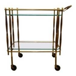 Vintage 1950's Bar Cart - All original 1950's brass and wood bar cart in excellent condition. Very good over all Vintage patina. Reminiscent of the designs of Cesare Lacca.