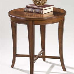 Magnussen Furniture - Round End Table - Kingston - Classic European overtones, enhanced with shaped legs and X stretchers, plus unique small nesting tables accompanying our larger overal cocktail place Kingston in a league by itself. The collection is crated of ash burl veneers with walnut inlay over hardwood solids. An ideal companion for any traditional seating. 24 in. W x 24 in. D x 25 in. H
