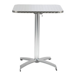 "Euro Style - Euro Style Arden 24"" Square Table 04111 - A hit for the Cafe life inside or outside. The textured stainless top is edge finished for a quality look and the all aluminum base completes the weatherproof construction. And the top easily tilts to a vertical position for great storage-ability."