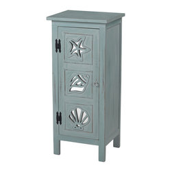 Sterling Industries - Normandy Shore Mirrored Seashell Cabinet - The Normandy shore mirrored seashell cabinet by Sterling will add a touch of coastal charm to your coastal themed Decor. A perfect storage cabinet for a small space such as a bathroom or laundry, this cabinet is finished in a tranquil shade of sea blue painted on natural wood tone with heavy white antique distressing. A front door cabinet features seashell motifs that are carved out to reveal a mirror beneath. Acrylic knob adds to the cabinet's charm. Cabinet has one shelf inside and is 36 inches tall x 16 inches wide and 13 inches deep.