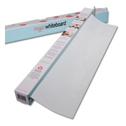 Magic Whiteboards - Magic Whiteboard 37 Feet of Whiteboard on a Roll - 15 Dry Erase Sheets - MW1115 - Shop for Paper Rolls from Hayneedle.com! The Magic Whiteboard 37 Feet of Whiteboard on a Roll - 15 Dry Erase Sheets is a supercharged whiteboard on a roll that sticks with static to any flat surface. Simply roll it out tear off a sheet along the perforated line and place it on the wall. No tape or adhesive required - it sticks with static! Write on Magic Whiteboard with standard dry erase markers erase and rewrite as many times as you need. You can take down your Magic Whiteboard sheet and put it back up again many times without it losing its static cling. You can roll out as much Magic Whiteboard as you want to create an entire whiteboard wall or tear off an individual sheet that can be used over and over again.Magic Whiteboard is perfect for training sessions brainstorming presentations teaching studying drawing to-do lists group work and much more. It also makes a great temporary projector screen that can be written on for an interactive presentation. These whiteboards are widely used by teachers parents students consultants trainers scientists and business professionals around the world. Small wrinkles in the whiteboard sheets may occur over time depending on how long the Magic Whiteboard sheet stays in one place however these can usually be smoothed down by hand or you can remove the sheet and replace it on the wall to help smooth it out. Magic Whiteboard should always be placed on a smooth clean surface free of dust or dirt. It can stick to rough surfaces but this makes it more difficult to write clearly on the whiteboard sheets.