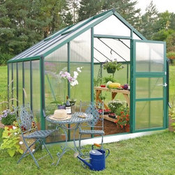 Juliana Premium 12.1 Green 9 x 14.5-Foot Greenhouse Kit - Additional features:Door dimensions: 32.5W x 72H inchesSidewall height: 4.75 feet.Peak height: 7.8 feet.Tough Scandinavian construction ensures frameslive up to their challenge of braving extremes of weatherTwin coated UV polycarbonate panels are the ultimatein protection and offer 83% visible light transmissionRoof is slanted at 300 to drain away rainRoof windows have the facility of opening horizontallyfor increased ventilationIntegral gutter designed to take downpipesDetailed, illustrated assembly instructionsAll installation hardware included12-year manufacturer's warrantyFlexible enough to let you plant in the growing season as well as through the entire year, the Juliana Premium 12.1 Green 9 x 14.5-foot Greenhouse Kit is the only greenhouse kit that should adorn your garden. Sporting advanced, twin-wall construction, the extra-thick polycarbonate panels offer 40% better insulation over single pane glass. The panels are strong enough to withstand any attack of sharp or heavy objects like hailstones or baseballs. They also let 83% light to diffuse in, while the UV coating ensures that the plants don't suffer due to the sun's harsh rays. Built to withstand the extreme conditions in northern climates, the sturdy, aluminum frame boasts a tough Scandinavian construction, which is up to 50% stronger than other frames. The weather-resistant, powder-coated green finish will add a dash of charm to your landscape. The gasket locking system is a great feature that fastens the polycarbonate panels to the frame, installing or taking down the greenhouse is quick and easy. Simply arrange the panels in order and secure them with the gaskets included, and your greenhouse is ready for gardening. Two double and two single windows with adjustable roof vents let in lots of fresh air for the plants, while the hinged door lets you enter or exit your greenhouse comfortably. Your maintenance plans can wait as the manufacturer provides a 20 year extended frame warranty. The galvanized base bit is included to ensure a solid foundation. A combination of quality construction and affordable price, the Juliana Premium 12.1 Green 9 x 14.5-foot Greenhouse Kit is a great choice for avid gardeners and casual hobbyists alike. Assembly is a weekend project for one or two people.About Juliana GreenhousesJuliana has been a premiere greenhouse manufacturer for over 40 years, originating in Scandinavia and expanding into the U.S. with Juliana America in 1991. Juliana is currently the largest distributor of greenhouses in the U.S. and offers high-quality greenhouses and greenhouse kits at unbeatable prices. Juliana greenhouses and greenhouse kits combine weather-tough durability with experience-driven design, providing the optimal growing environment for plants.