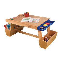 """KidKraft - Kidkraft Home Kids' Art Table With Drying Rack And Storage - Age Range: 5-8. Let's get creative. Our Art Table with Storage gives budding artists everything they need to create their next masterpiece. Young boys and girls who already like using easels will love getting to draw, paint and color. Dimension: 50""""Lx 25.5""""Wx 21""""H"""