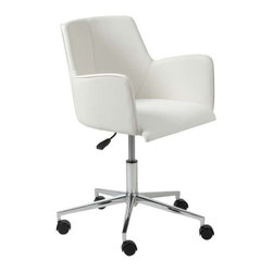 Eurostyle - Eurostyle Sunny Swivel Office Chair in White Leatherette & Chrome - Swivel Office Chair in White Leatherette & Chrome belongs to Sunny Collection by Eurostyle Sunny indeed. This is a chair with a surprising amount of dignity and style. It's authoritative without being pushy. However, when it's time for a break, you can push it right over to the window and do some weekend daydreaming. Office Chair (1)