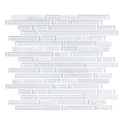 Bliss Norwegian Ice Stone and Glass Strip Mosaic Tiles, 10 Square Feet - A nice neutral mix of white glass and stone strips come together in this linear mosaic tile blend. Norwegian Ice is also available in a 5/8 x 5/8 mosaic tile.
