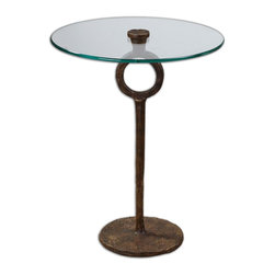 Uttermost - Uttermost Diogo Glass Accent Table 24336 - A clear, tempered glass top showcases the hand-wrought artistry of this heavily oxidized, cast iron side table.
