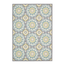 Nourison - Nourison Waverly Sun and Shade Jade Blue Rug (2' x 3') - Shades of ivory,green and aqua mingle in this beautiful rug's design,creating an abstract pattern that adds dimension to your room. Featuring 100 percent polyester construction,this rug offers easy care and durability.