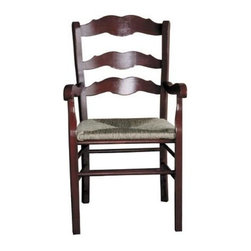 British Traditions - French Slat-Back Arm Chair w Rush Seat & Straight Legs - Set of 2 (Black) - Finish: Black. Set of 2. Each finish is hand painted and actual finish color may differ from those show for this product. French back slats and arms. Rush seat. Straight legs. Minimal assembly required. Seat Height: 18 in. H. Arm Height: 27 in. H. 20 in. W x 17 in. D x 39 in. H (23 lbs.)The Dijon Chair has a simple French curve on the back slats and arms, but straight, sturdy legs.