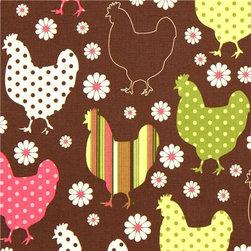 brown organic fabric chicken & flower by Robert Kaufman - Organic Fabric with Chicken
