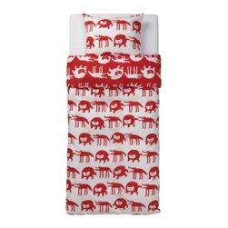 Eva Lundgreen - BARNSLIG ULVEN Duvet cover and pillowcase(s) - Duvet cover and pillowcase(s), red/white