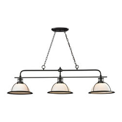 ELK - ELK 55047/3 Billiard Light - The Wilmington collection has a classic design style to enhance a variety of settings.  A pulldown single pendant offers added versatility and function to the series that is finished in Oil Rubbed Bronze with opal white glass.