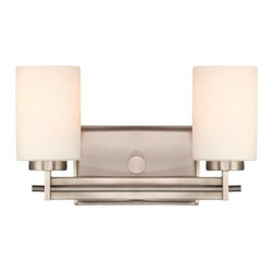 Quoizel Taylor 2-Light Bath Sconce - 13.5W in. - Perfect for just about any bathroom, the Quoizel Taylor 2-Light Bath Sconce - 13.5W in. comes in your choice of finish, with opal etched glass shades. Install it facing upward for ambient light, or facing downward for directed light; either way, it casts a beautiful, warm glow from its two 100-watt bulbs (not included).About Quoizel LightingLocated in Charleston, South Carolina, Quoizel Lighting has been designing timeless lighting fixtures and home accessories since 1930. They offer a distinctive line of over 1,000 styles, including chandeliers, lamps, and hanging pendants. Quoizel Lighting is the perfect way to add an inviting atmosphere to any area in your home, both indoors and out.