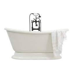 The Tub Studio - Catalina CoreAcryl Bisque Acrylic French Bateau Pedestal Tub Package - Product Details