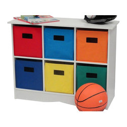 River Ridge - Cabinet with Bright Bins - Includes six bright bins. Top shelf for extra storage space. Versatile storage. Can be used in kids room, play area, family room and entryway. Can be used where additional storage is needed. Non woven poly fabric. Made from painted MDF wood composite. White finish. Assembly required. 24.88 in. W x 11.5 in. D x 31.88 in. H (34 lbs.)