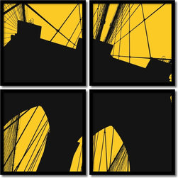 Amanti Art - Erin Clark 'Brooklyn Bridge (yellow) Quad- set of 4' Framed Art Print 19 x 19-in - A symbol of American ingenuity and engineering, the Brooklyn Bridge is a favorite subject of artists around the world.The clean silhouette of the gothic tower and suspension cables against a bright yellow palette gives this art a modern urban edge, made all the more interesting by this dynamic quadriptych format. The overall size of this quadriptych measures 40\' x 40\' with a 1\' gap between each pane.