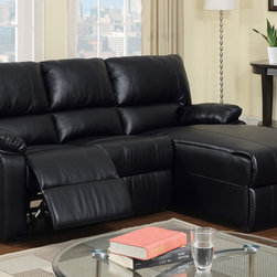 Small Black Leather Reclining Sectional Sofa Set Recliner Right Chaise - Breath easy with this recliner sectional set the features all the amenities of style, comfort and functionality into one. Covered in a cream bonded leather, it includes plush seating with manual reclining and a left-sided chaise.