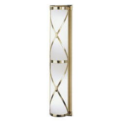 Robert Abbey - Chase Wall Sconce, Antique Brass - If you're looking for lighting that gently illuminates while complementing the understated chic of your favorite setting, look no further. This sconce has a frosted-white shade encased by crosses in your choice of a nickel, brass or bronze finish to make a simply elegant style statement.