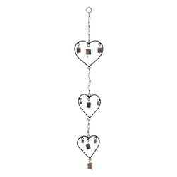Benzara - Metal Heart Wind Chime with A Design of Hearts - Convey your heartfelt emotions to a dear one by gifting them this Metal Wind Chime with a Design of Hearts . With an all metal design, this wind chime oozes an inherent rustic appeal that is just irresistible. With a series of these three metal hearts dangling one below the other by metal links, you are sure to convey all your love. Each heart sports a metal bell dangling from a hook. Swaying over the gentle breeze these bells emit soft, yet audible melodies that are almost a metaphor for your unsaid feelings. You can even bring this wind chime home to add that dash of romance to your bedroom or any personal space. Made completely from metal that is rustproof and durable, this wind chime is an all-weather work of art. It is said that hearts connect in mysterious ways and you can reflect your love through this wind chime..