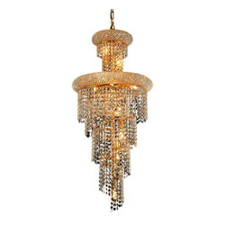 "PWG Lighting / Lighting By Pecaso - Adrienne 10-Light 16"" Crystal Chandelier 1530SR16G-RC - Offering elegant and timeless sophistication, the Adrienne Collection features stunning and exquisitely designed Crystal Chandeliers. Placing the large pieces in a multi-storied foyer and seen from below or outside creates an utterly, dazzling speckle of light."