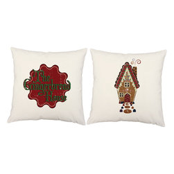 RoomCraft - Set of 2 Christmas Holiday Pillows, White, Gingerbread House, Covers and Pillows - FEATURES: