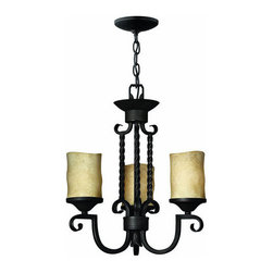 """Hinkley Lighting - Hinkley Lighting H4013 Casa 3 Light 1 Tier Candle Style Pillar Candle Chandelier - Three Light Single Tier Candle Style Pillar Candle Chandelier from the Casa CollectionFeatures:Cylinder Shaped Antique Scavo Glass ShadeIncludes 5' of Chain and 6' of WireSuitable for Dry LocationsLamping Technologies:Bulb Base - Medium (E26): The E26 (Edison 26mm), Medium Edison Screw, is the standard bulb used in 120-Volt applications in North America. E26 is the most common bulb type and is generally interchangeable with E27 bulbs.Compatible Bulb Types: Nearly all bulb types can be found for the E26 Medium Base, options include Incandescent, Fluorescent, LED, Halogen, and Xenon / Krypton.Specifications:Number of Bulbs: 3Bulb Base: Medium (E26)Bulb Type: Compact FluorescentBulb Included: NoWatts Per Bulb: 60Wattage: 180Voltage: 120Height: 18.5""""Width: 16.5""""Canopy Diameter: 5""""Chain Length: 60""""Wire Length: 72""""Energy Star: NoAbout Hinkley Lighting:Since 1922, Hinkley Lighting has been driven by a passion to blend design and function in creating quality products that enhance your life. Hinkley is continually recommended by interior and exterior designers, and is available to you through premier lighting showrooms across the country. They pride themselves in delivering superior customer service that is second to none. They know that you have goals when it comes to your home's d�cor, and they care about helping you achieve the final outcome you are looking for in every aspect."""
