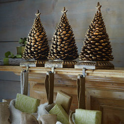 """Horchow - Pine Cone Tree Christmas Stocking Hook - Topped with a pine cone shaped like a Christmas tree, this decorative hook turns Christmas stocking display into a festive affair. Made of resin. Sold individually; each, 5""""W x 4.5""""D x 10""""T. Imported."""