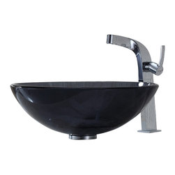 Kraus - Kraus Clear Black Glass Vessel Sink and Typhon Faucet - Add a touch of elegance to your bathroom with a glass sink combo from Kraus.
