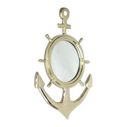 "Handcrafted Model Ships - Solid Brass Anchor Ship Wheel Mirror 18"" - Nautical Mirror - The Solid Brass Anchor Ship Wheel Mirror 18"" is the perfect addition to any nautical themed home. Combining a decorative anchor and a decorative ship wheel, this is the perfect fusion for any nautical enthusiast in your life. This ship wheel mirror is sturdy, durable, and easily mounted to your wall."