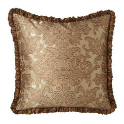 Austin Horn Classics - Austin Horn Classics Damask European Sham w/ Ruched Welt - Luxurious fabrics and lavish trims in shades of caramel and latte add up to a level of opulence that makes these bed linens hard to resist. Made in the USA of polyester/rayon and silk fabrics by Austin Horn Classics. Dry clean. Hand-quilted damask comf...