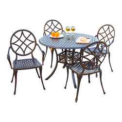 Great Deal Furniture - Norcross Outdoor 5pcs Cast Aluminum Dining Set - The Norcross dining set is a beautiful addition for your outdoor decor. Made from cast aluminum, the set includes four (4) Norcross dining chairs and one (1) round mesh table. The features include intricate details on the chairs and table. The table also features a patio umbrella opening. The antique shiny copper finish is neutral to match any outdoor furniture and will hold up in any weather condition. Whether in your backyard, patio, or deck, you'll enjoy this set for years to come.