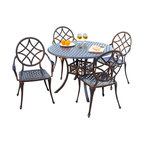 Great Deal Furniture - Norcross Outdoor 5pcs Cast Aluminum Dining Set - The Norcross dining set is a beautiful addition for your outdoor decor. Made from cast aluminum, the set includes four (4) Norcross dining chairs and one (1) round mesh table. The features include intricate details on the chairs and table. The table also features a patio umbrella opening. The antique shiny copper finish is neutral to match any outdoor furniture and will hold up in any weather condition. Whether in your backyard, patio, deck or even your restaurant outdoor dining space, you'll enjoy this set for years to come.