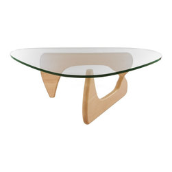 Lemoderno - Tribeca Coffee Table By Lamoderno, Natural Sold Wood Base - This table consists of three basic parts: a beautiful glass top and two interlocking solid wood base pieces. This classic design was first produced in 1944. This item is a high quality reproduction of the original.