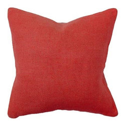 Villa Home - Willow Basket Weave Pillow in Red - This eye catching rich ruby red pillow is enchanting.  Our handcrafted pillow is made of high quality linen.  Each wine country inspired pillow has a basket weave front with contrasting natural coloring on the back.  Coconut button closure and feather down insert included with these pillows.