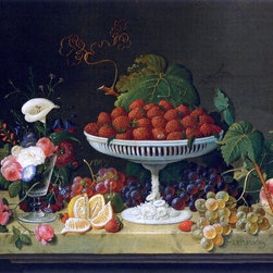 """Severin Roesen Still Life with Strawberries and Goblet of Flowers  Print - 16"""" x 24"""" Severin Roesen Still Life with Strawberries and Goblet of Flowers premium archival print reproduced to meet museum quality standards. Our museum quality archival prints are produced using high-precision print technology for a more accurate reproduction printed on high quality, heavyweight matte presentation paper with fade-resistant, archival inks. Our progressive business model allows us to offer works of art to you at the best wholesale pricing, significantly less than art gallery prices, affordable to all. This line of artwork is produced with extra white border space (if you choose to have it framed, for your framer to work with to frame properly or utilize a larger mat and/or frame).  We present a comprehensive collection of exceptional art reproductions bySeverin Roesen."""