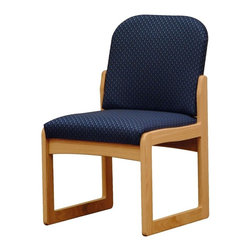 Wooden Mallet - Padded Armless Chair w Oak Frame (Wine Vinyl) - Fabric: Wine VinylDesign a comfortable, inviting lobby or reception area with this padded armless chair, featuring a sturdy oak base and an upholstered seat and back in your choice of color options. Ideal for a medical office, hotel or salon, the chair is part of a collection, with coordinating pieces available separately. Pictured in Blue Arch fabric. Full length, fully upholstered, arched back lends style and comfort. Built with a 1 in. thick solid Oak frame. Extra thick seat and back cushions for comfort and durability. Made in the USA. Assembly is a breeze with our unique slide brackets, no tools required. Complies with California TB 117 fire code. 1-Year limited warranty. Seat: 16.5 in. D x 19.5 in. W x 14.5 in. H. Weight capacity: 400 lbs.. Total height: 19 in.Wooden Mallet's Dakota Wave Prairie series with its full length, fully upholstered back offers graceful styling for sophisticated good looks. This chair is constructed of solid Oak with a state-of-the-art finish for beauty and durability. Choose from dozens of stain and fabric combinations to customize this chair for any décor or contact us to learn about supplying your own fabric for a personalized look. Choose this chair as part of our complete Dakota Wave collection of coordinating lobby essentials.