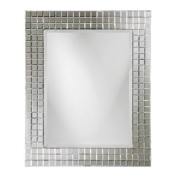 "Howard Elliott - Michael Square Glass Beveled Tile Frame Mirror - Michael Square Clear Glass Beveled Tile Frame Mirror, Frame Dimensions: 42""W x 52""H X 2""D; Mirror Dimensions: 30""W x 40""H; Finish: Clear Glass Beveled Tile Frame; Material: Glass;Beveled: Yes;Shape: Square;Weight: 70 lbs;Included: Brackets, Ready to Hang Vertically or Horizontally"
