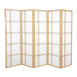 Oriental Furniture - 5 ft. Tall Double Cross Shoji Screen - Natural - 5 Panels - This beautiful Shoji screen adapts a traditional Japanese design element for the modern home. Shoji rice paper has been used in Japanese homes for over a thousand years because of its lightweight design, portability, and translucence. This folding screen uses this time-tested material in an elegant double cross spruce frame that can be easily moved and adjusted to partition a room or provide privacy.